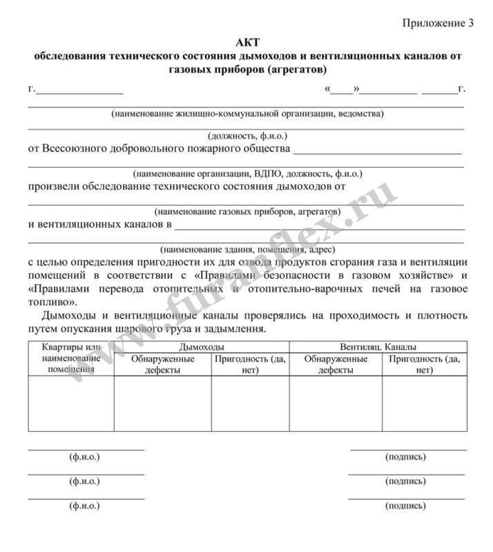 Акт на дымоходы в москве чистка дымоходов продажа ершей для чистки