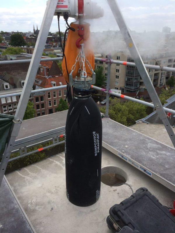Санация дымохода полимерным чулком, так называемым «методом труба в трубе»
