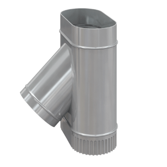 Тройник одноконтурный для дымохода — эллипс 45