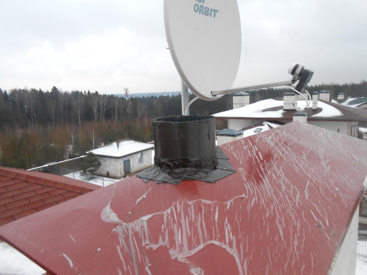 Установка антенны на дымоход